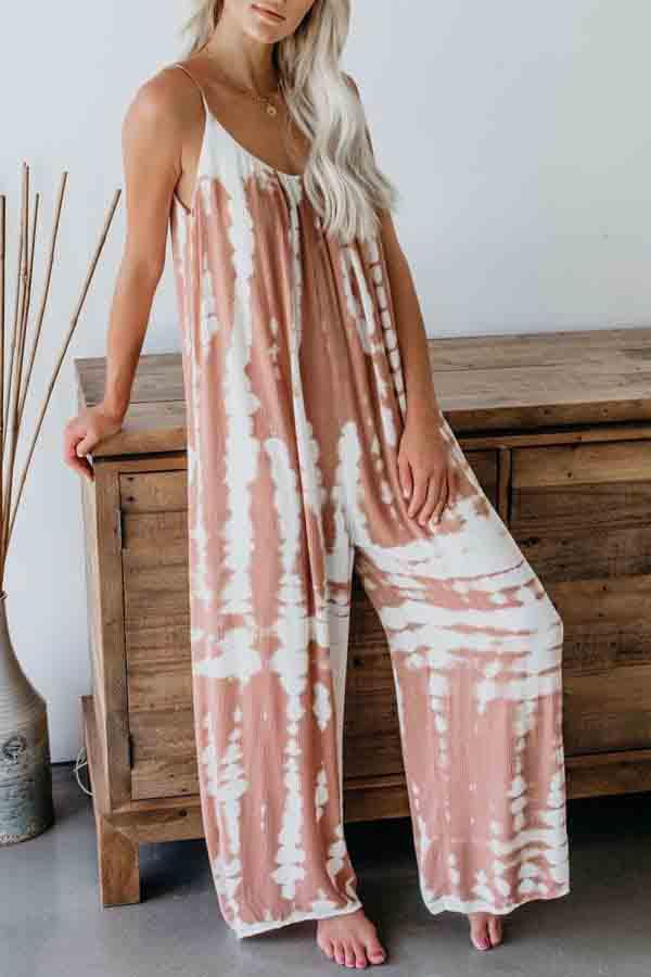 Women's Casual Sleeveless Wide Leg Tie Dye Jumpsuit