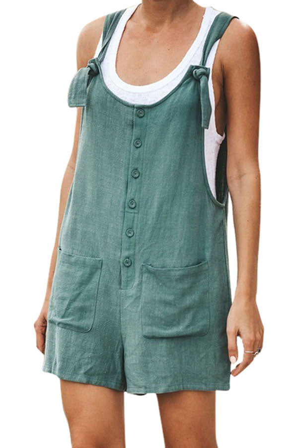 Plus Size Adjustable Straps Button Down Pocket Loose Overall Shorts