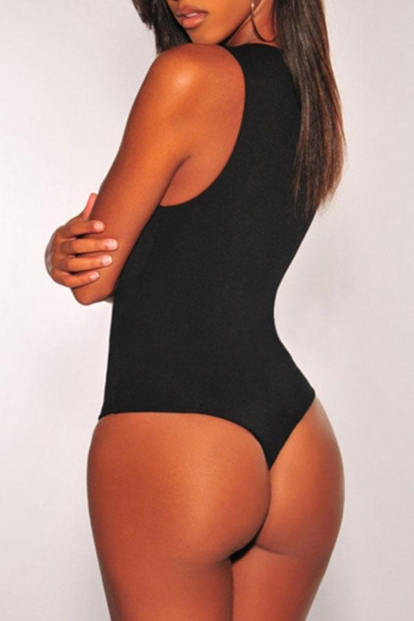 Women's Sexy Solid Scoop Neck Sleeveless Bodycon One Piece Bodysuit