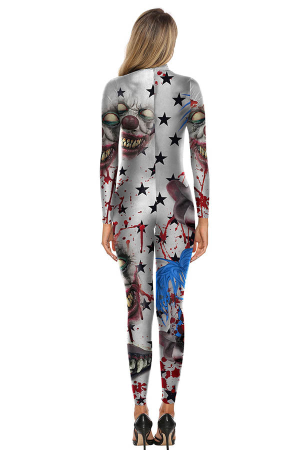 Long Sleeve Mutant Clown Print Halloween Bodysuit