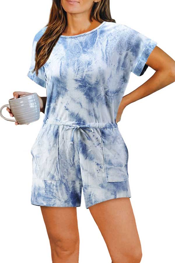 Casual Short Sleeve Crew Neck Tie Dye Romper Blue