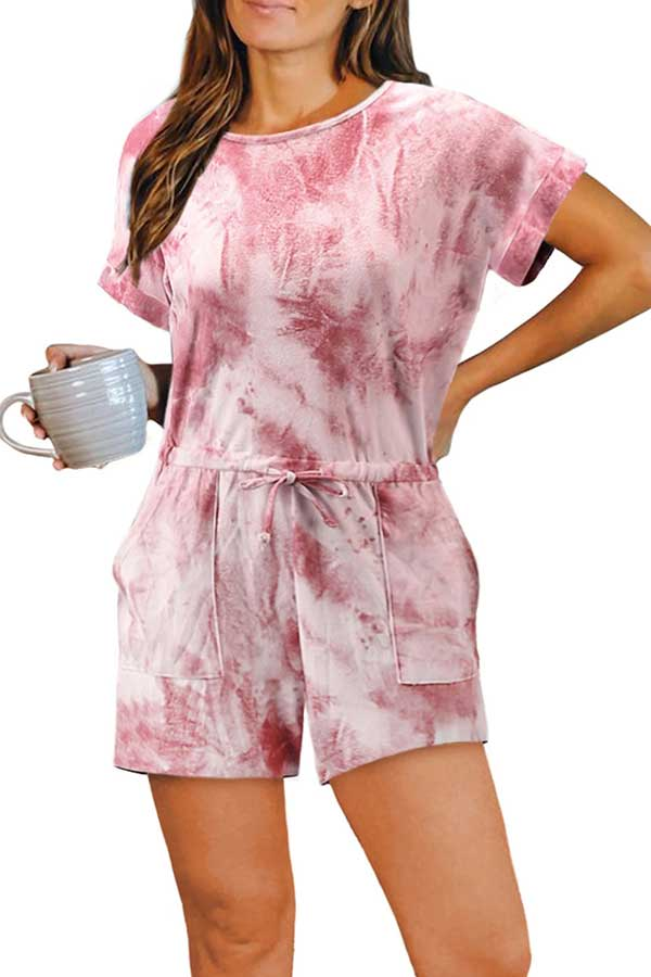 Summer Short Sleeve Tie Dye Romper With Pocket Pink