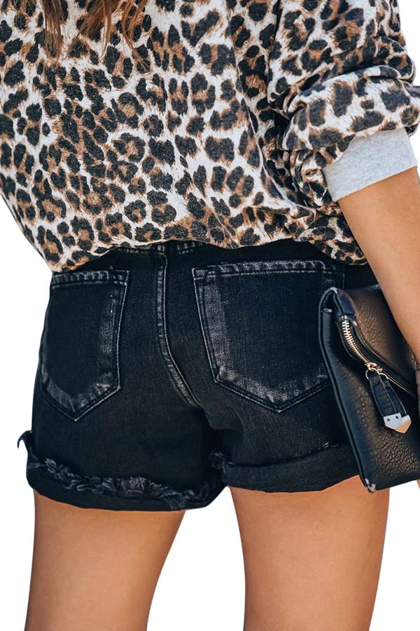 Women's?Raw Hem Pockets Mid Rise Denim Shorts Jeans