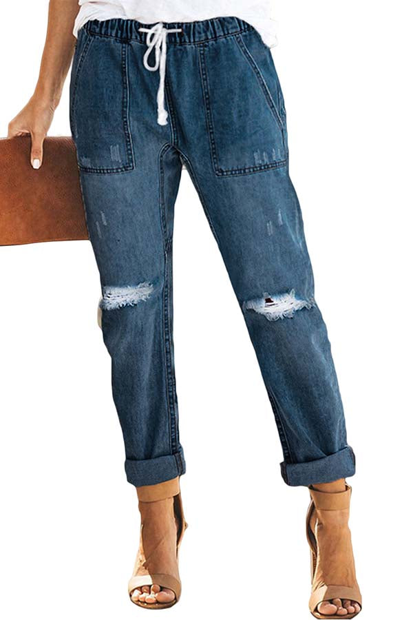 Women's High Waisted Ripped Destroyed Ripped Jeans