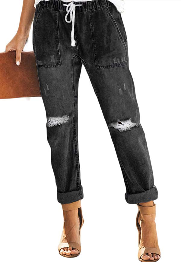 Women's High Waisted Ripped Boyfriend Distressed Jeans