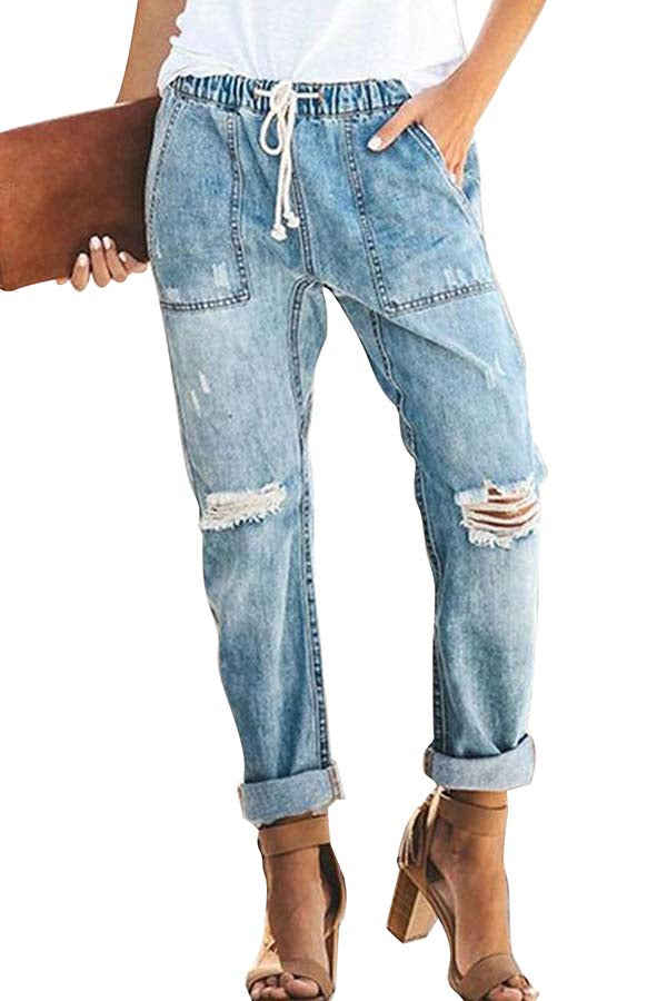 Women's High Waisted Ripped Denim Jeans Casual Pants