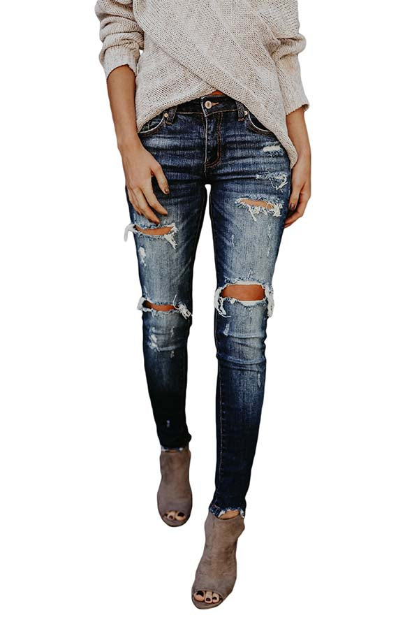 Women's High Waisted Skinny Pants Destroyed Ripped Jeans