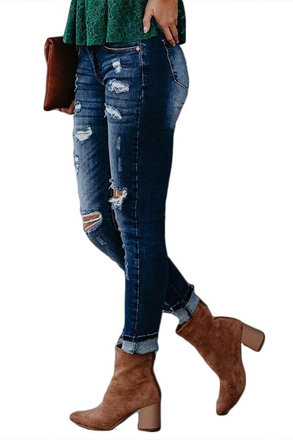 Women's Destroyed Ripped High Waisted Skinny Pants Jeans