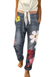 Plus Size Women's Relaxed Fit Floral High Waisted Denim Jeans Grey