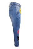 Plus Size Women's Casual Loose Fit Floral Print Jeans Denim Pants