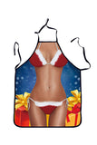 Adult Party Cosplay Sexy Lingerie Print Christmas Apron Red