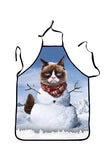 Funny Adult Party Cosplay Snowman Cat Print Christmas Apron White