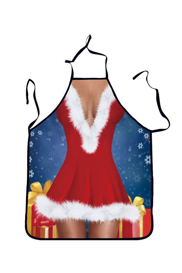 Funny Adult Party Cosplay Sexy Lingerie Print Christmas Apron Red
