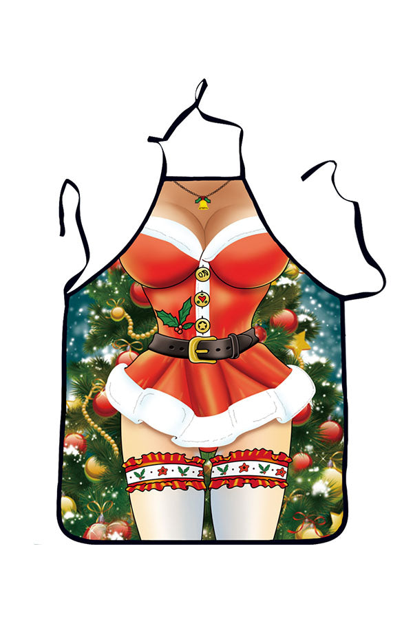 Funny Adult Party Cosplay Sexy Lingerie Print Christmas Apron Green