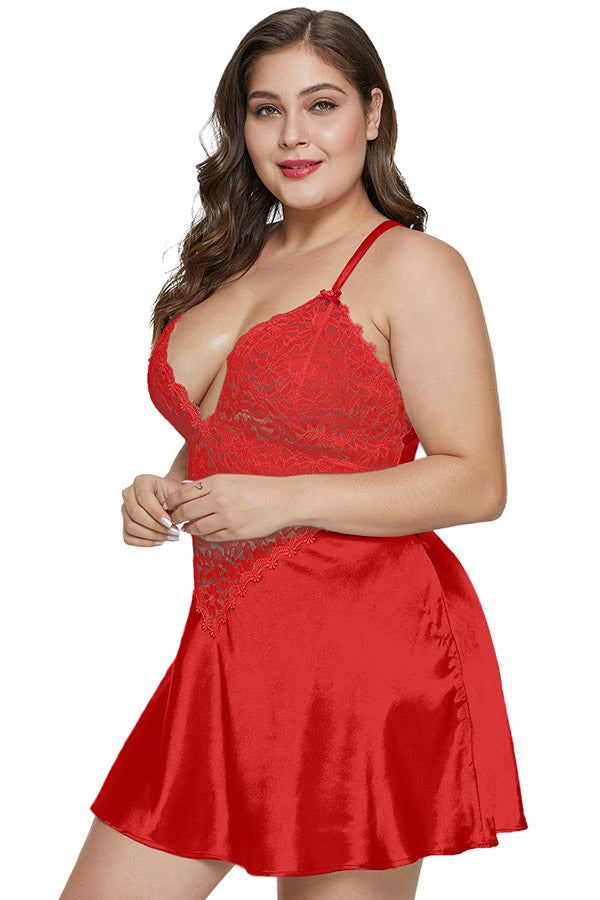 Plus Size V Neck Criss Cross Floral Lace Patchwork Babydoll With Thong Red