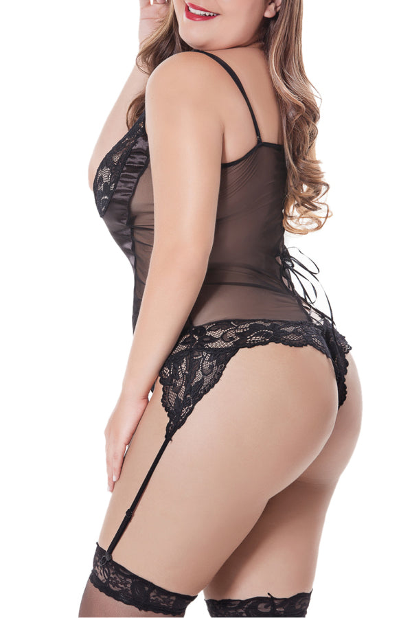 Plus Size Teddy Floral Lace Black