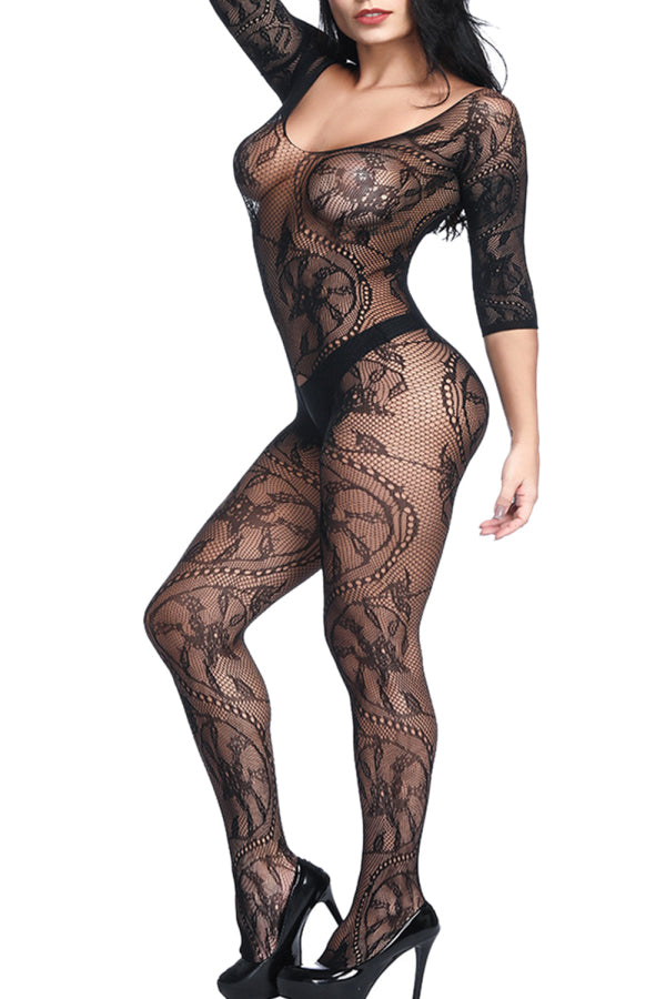 Floral Sheer Crotchless Bodystocking Black