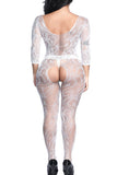 Scoop Neck Fishnet Bodystocking White