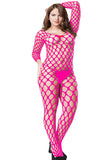 Fishnet Crotchless Bodystocking Wide Neck Rose Red