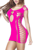 Side Cut Out Chemise Backless Rose Red