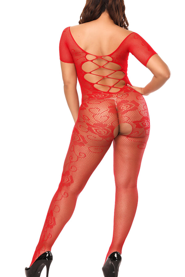 Floral Lace Fishnet Bodystocking Short Sleeve Red