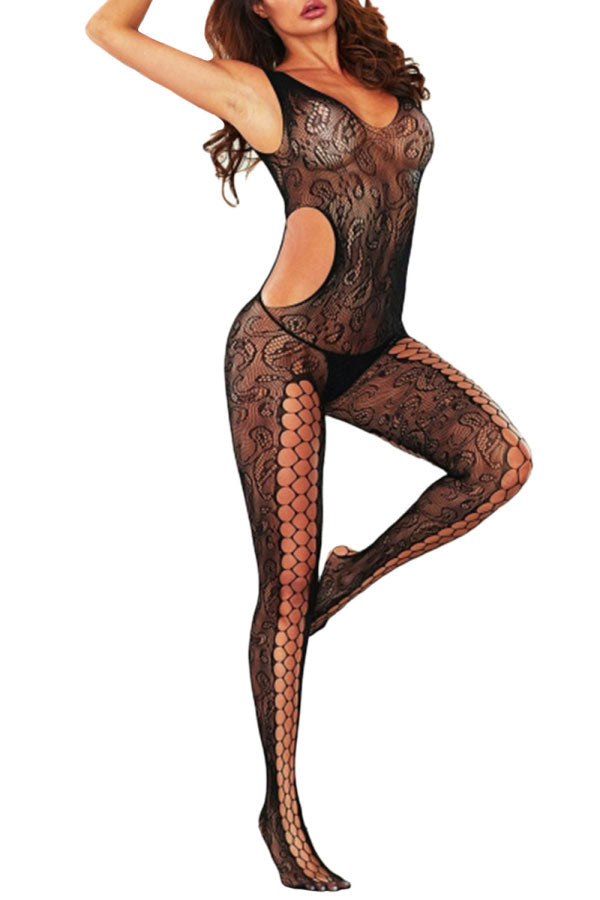 Black Pothole Cutout Swirl Lace Body Stocking