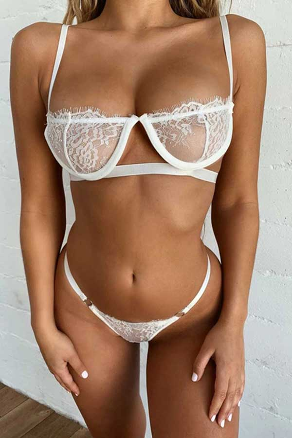 Women's Lingerie Set Mesh Eyelash Lace Bralette And Panty Set