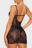 V Neck Lace Trim Sheer Bodycon Babydoll Set Black