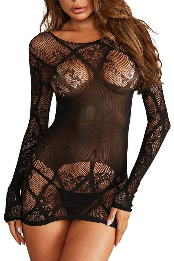 Sexy Mesh See Through Long Sleeve Lingerie Dress Black