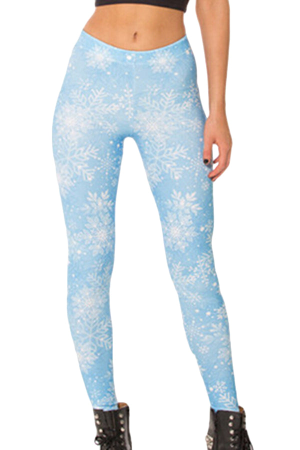 Blue Ladies White Snowflake Printed Christmas Designer Leggings