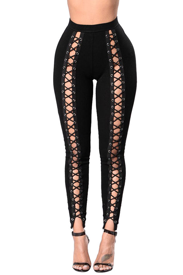 Womens High Waist Cross Lace-up Cutout Plain Leggings Black