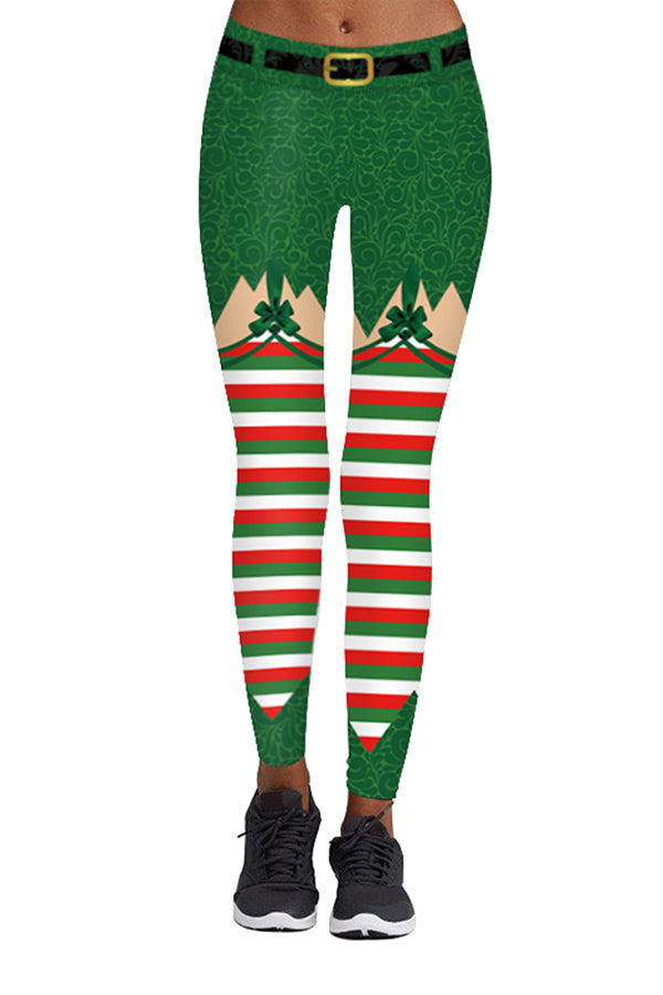 Elf Christmas Ugly Leggings Green