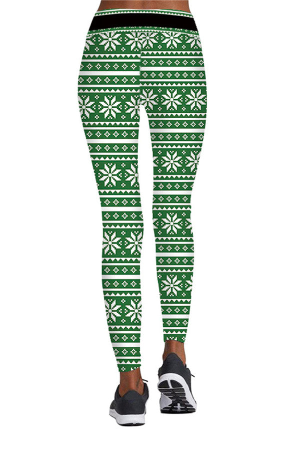 Xmas Snowflake Print Ugly Leggings Light Green