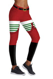 Santa Helper Print Xmas Ugly Leggings Red