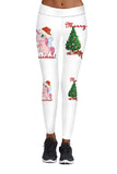Christmas Tree Unicorn Leggings White