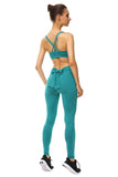 Elastic Skinny Tie Plain Yoga Workout Leggings Turquoise