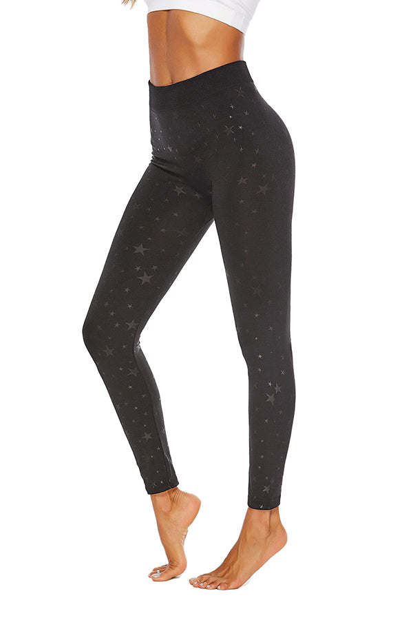 Plus Size Elastic Star Print Workout High Waisted Leggings Black