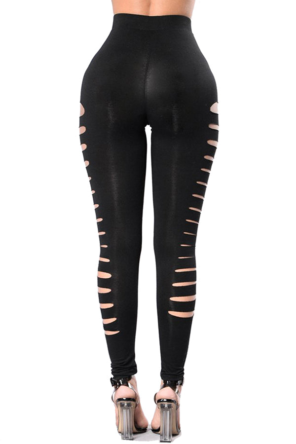 Side Cut Out Plain Skinny High Waisted Leggings Black