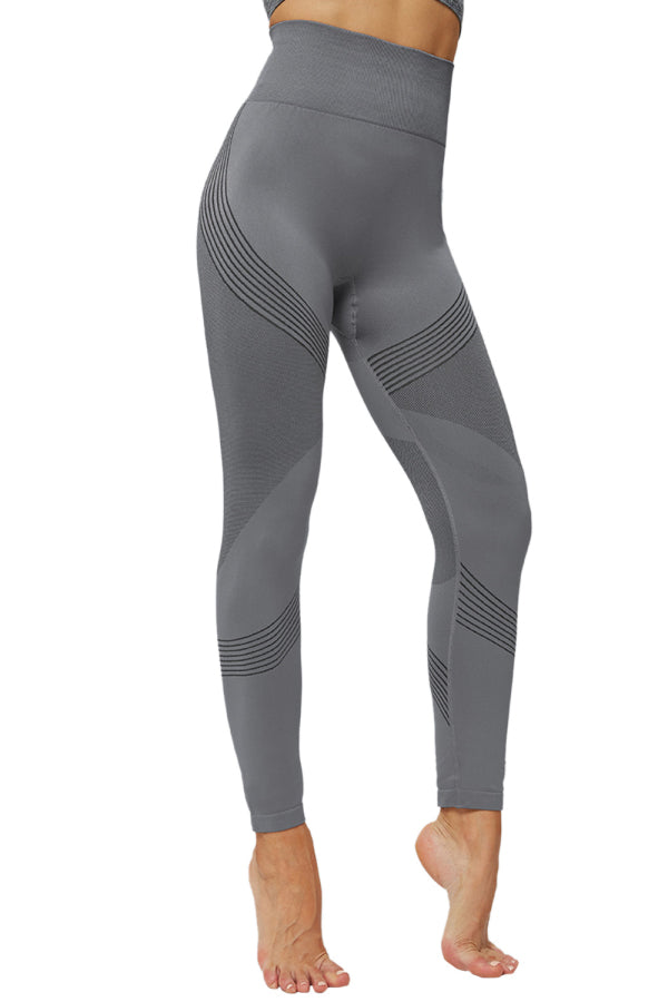 High Waisted Color Block Active Leggings Gray