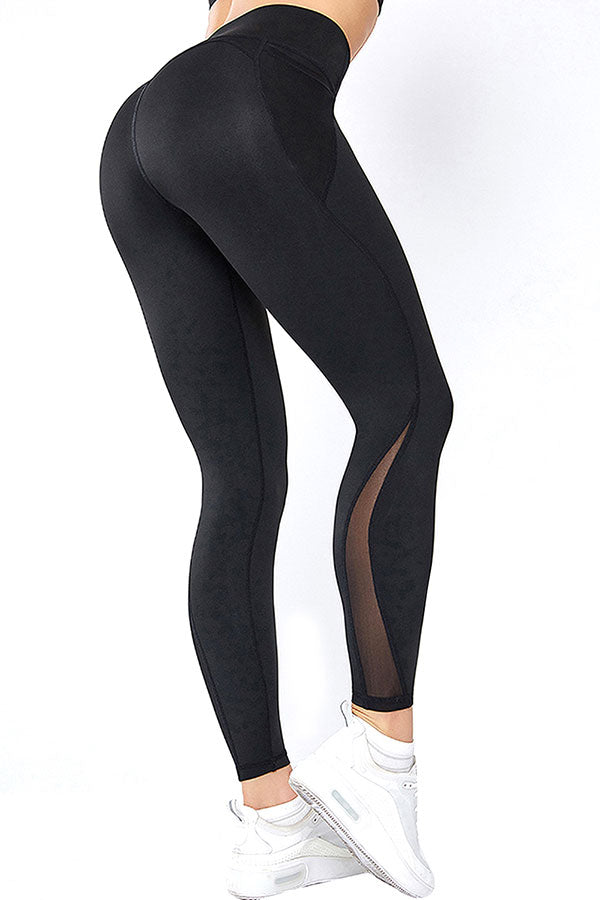 Women's Mesh High Waisted Fitness Leggings With Pocket