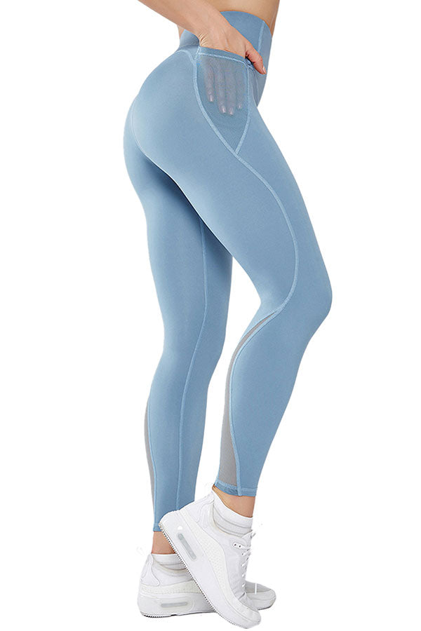 Women's Mesh Patchwork High Waisted Workout Leggings For Outdoor Sports