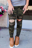 Women's Stretchy Lace Hollow Out Camo Print Skinny Leggings