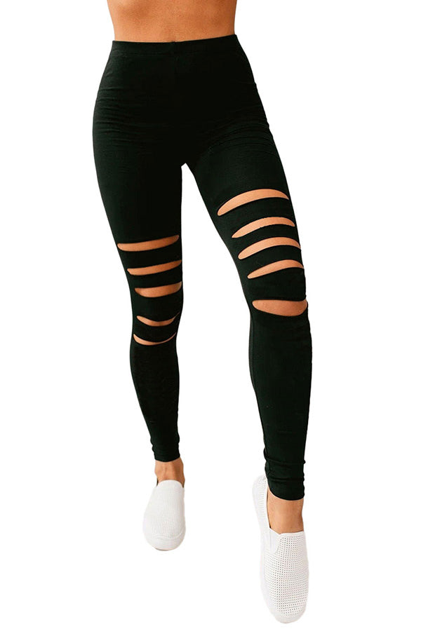Solid High Waisted Cut Out Yoga Workout Leggings Black