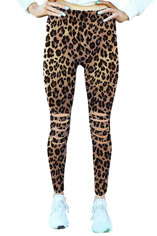 Leopard Cut Out High Waisted Yoga Workout Leggings Chestnut
