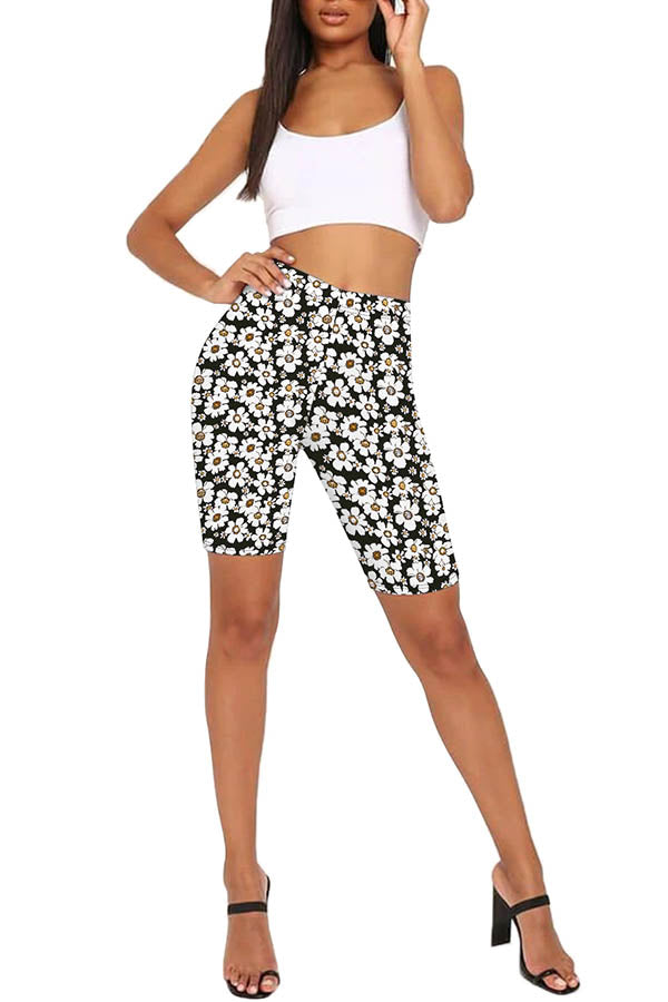Floral Print Workout High Waisted Bike Shorts Ginger
