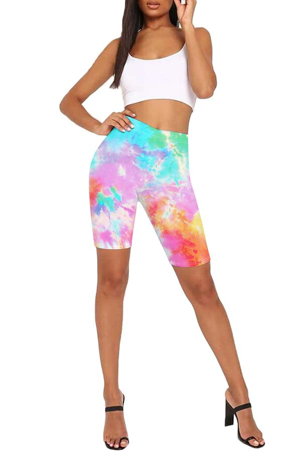 Tie Dye Workout High Waisted Bike Shorts Light Purple
