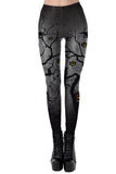 Halloween Withred Tree Pumpkin High Waisted Leggings Dull Black