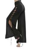 Womens Lace Up Eyelet Side Slit Wide Leg High Waisted Pants Black