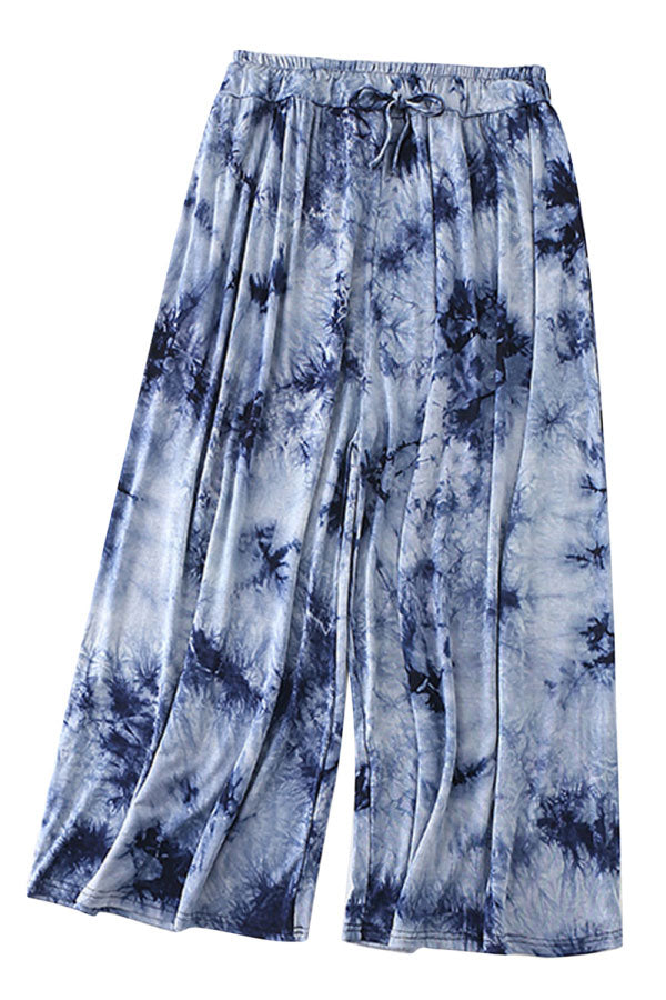 Casual Loose Drawstring Tie Dye Wide Leg Pants Navy Blue