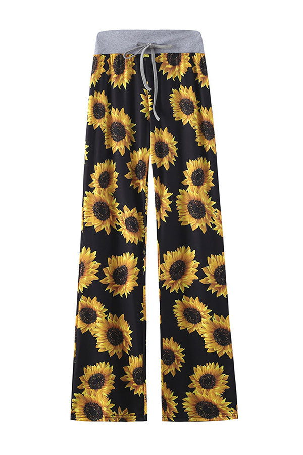 Floral Print Comfy Drawstring High Waisted Wide Leg Pants